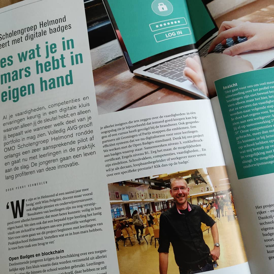 Deze maand een mooi artikel in Van12tot18 over mijn project BlockChange. #blockchain #onderwijs #innovatie #edutech