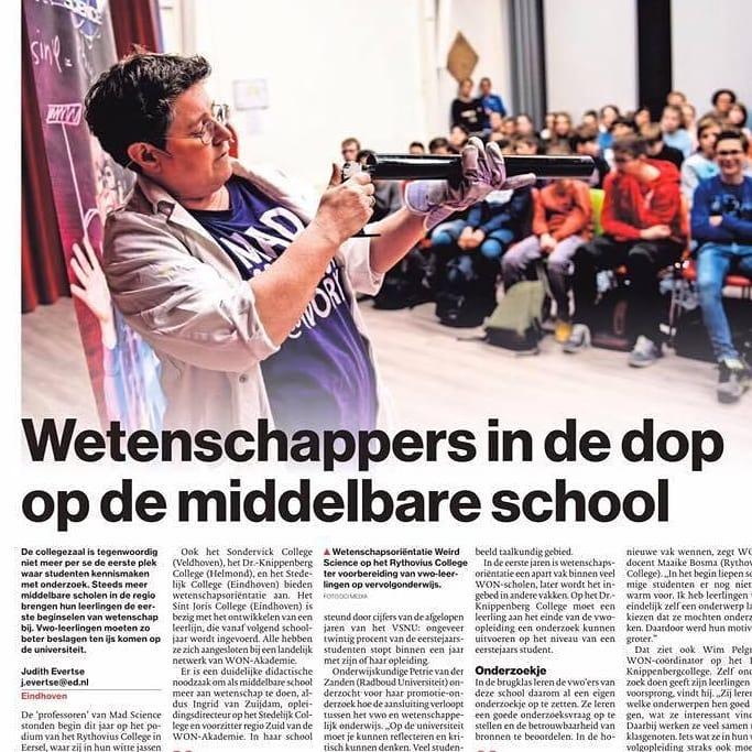 Vandaag een mooi artikel in het @eindhovensdagblad over #wetenschapsoriëntatie op @drknippenbergcollege. Leuk dat ik hieraan mocht bijdragen. #onderwijs #won